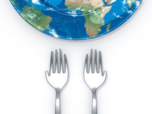 Feed the world. Hand shape forks with empty earth plate on white background Royalty Free Stock Images