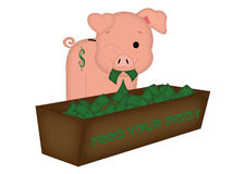 Feed Your Piggy. This guy is great for showing saving money in your piggy bank, whether it be because of great sales on prices, or showing how to put money away stock illustration