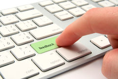 Feedback. Concept - modernized computer keyboard with  keypad stock image