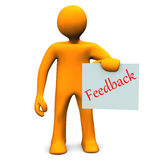 Feedback. Orange cartoon character with a feedback on paper Stock Image