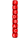 Feedback. Word formed by kids learning blocks stacked on top of each other in 3d render vector illustration