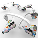 Feedback Bullhorns Megaphones Spreading Opinions Comments Royalty Free Stock Image