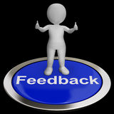 Feedback Button Shows Opinion Evaluation And Surveys Stock Photo