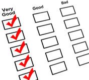 Feedback check boxes. Feedback paper with check boxes isolated on white background Stock Images