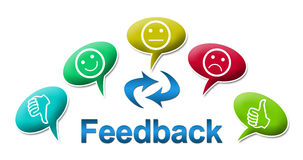 Feedback with Colourful Comments Symbol. Feedback text and symbol surrounded with comments icons vector illustration