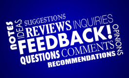 Feedback Comments Opinions Reviews Word Collage. 3d Illustration Royalty Free Stock Photo