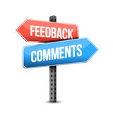 Feedback or comments road sign illustration. Over a white background Royalty Free Stock Image