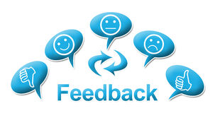 Feedback With comments Symbols Blue. Feedback text and symbol surrounded with comments icons Stock Photos