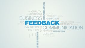 Feedback communication business information answer client comment message opinion assessment rating animated word cloud. Background in uhd 4k 3840 2160 royalty free illustration