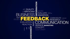 Feedback communication business information answer client comment message opinion assessment rating animated word cloud. Background in uhd 4k 3840 2160 stock illustration