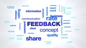 Feedback concept comment communication customer business share information client message opinion animated word cloud. Background in uhd 4k 3840 2160 royalty free illustration