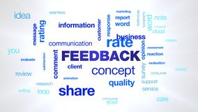 Feedback concept comment communication customer business share information client message opinion animated word cloud royalty free illustration