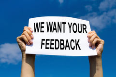 Feedback concept, sign in hands stock images