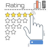 Feedback Concept Stars Vector Illustration. Customer reviews rating user feedback concept vector flat illustration. Man hand giving five star to increase rating Royalty Free Stock Images