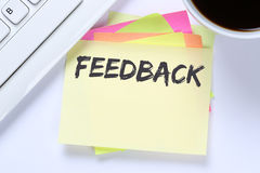 Feedback contact customer service opinion survey business review. Desk computer keyboard Stock Photography