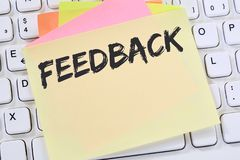 Feedback contact customer service opinion survey business review. Concept note paper computer keyboard Stock Photo