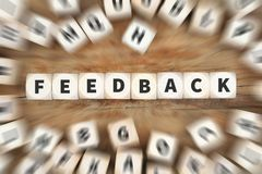 Feedback contact customer service opinion survey review dice bus Royalty Free Stock Photo