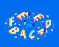 Feedback design concept. Feedback 3d word lettering typography with isometric people and laptops. Flat 3d isometric style. Isometric design for business banner Stock Image