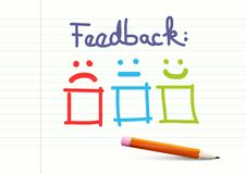 Feedback Design on Notebook Paper Background. With Pencil royalty free illustration