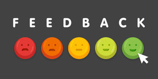 Feedback emoticon emoji smile icon buttons with mouse click  illustration Royalty Free Stock Photo