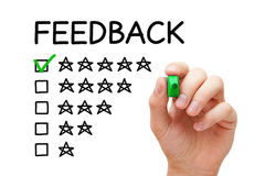 Feedback Five Stars Concept. Hand putting check mark with green marker on five stars in feedback form Royalty Free Stock Image