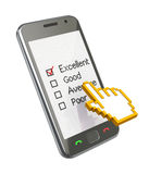 Feedback form. On the mobile phone (3D concept Royalty Free Stock Photos