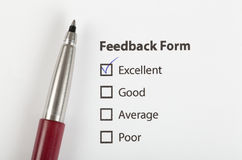 Feedback form checked with excellent Stock Photos
