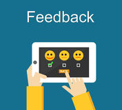 Feedback illustration. Flat design. Feedback or Rating system on phone screen. Giving feedback concept. Stock Image