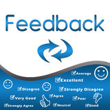 Feedback with keywords - Blue. Feedback text with related keywords and symbols in a presentation style vector illustration