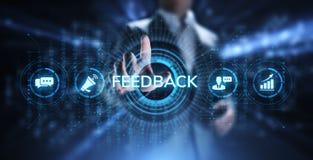 Feedback-Kundendienst-Berichthuldigungs-Dienstleistungsunternehmenkonzept stockbilder