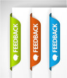 Feedback Labels / Stickers. On the edge of the (web) page Royalty Free Stock Photo
