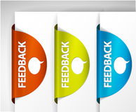 Feedback Labels / Stickers. On the edge of the (web) page Royalty Free Stock Images