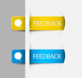 Feedback Labels / Stickers on the (web) page. Yellow and blue Feedback Labels / Stickers on the edge of the (web) page Stock Photography