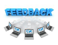 Feedback 3d concept illustration. Feedback and laptops data transfer 3d concept illustration isolated on white background Stock Photo