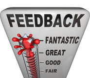 Feedback Level Measuring Thermometer Opinions Reviews. The word Feedback on a thermometer measuring customer or audience response to a product, event, initiative Royalty Free Stock Image