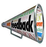 Feedback Megaphone Bullhorn Opinion Sharing. A megaphone or bullhorn with the word feedback and many related terms such as judgment, opinion, reaction, attitude Royalty Free Stock Photo