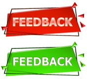 Feedback sign. Feedback modern 3d sign isolated on white background,color red and green Royalty Free Stock Images