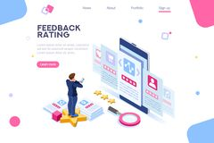 Feedback Online Rating Choice Template. Opinion, user choice support to approve human rate. Measurement experience images. Vote and evaluation. Isolated status vector illustration