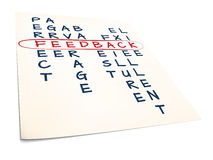Feedback. Paper with text feedback and crosswords Stock Photos