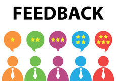 Feedback. People give star rating to feedback. Vector illustration. Flat design. Reviews and discussion concept vector illustration