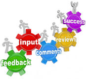Feedback People Marching Up Gears Input To Success Royalty Free Stock Photos