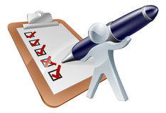 Feedback person and survey. With the person completing the form, questionnaire or test with a large pen Stock Photos