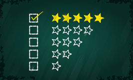 Feedback questionnaire. Five star feedback questionnaire drawn on green chalkboard Stock Photography