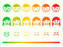 Feedback rate emoticon icon set. Emotion smile ranking bar. Vector smiley face customer or user review, survey, vote rating. Emoji opinion symbols stock illustration