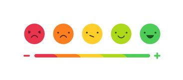 Feedback or rating scale with smiles representing various emotions arranged into horizontal row. Customer`s review and stock illustration
