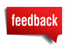 Feedback red 3d realistic paper speech bubble Stock Images