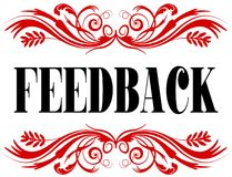 FEEDBACK red floral text frame. Illustration concept Stock Photography