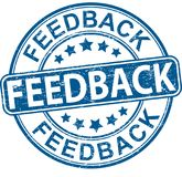 Feedback round textured rubber stamp web bage. Blue grungy rubber stamp on white background Stock Photos