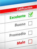 Feedback selection concept in Spanish Stock Images