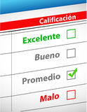 Feedback selection concept in Spanish. Illustration design Royalty Free Stock Photography